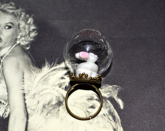 Glass Globe Bunny Ring, Adjustable Ring, Bunny Rabbit, Pink and White, Glitter Jewelry, Snow Globe, Glass Orb Ring, Kawaii Jewelry