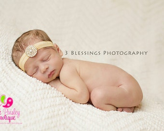 Gold Baby Headbands - Gold Infant Headband - Baby Girl Headbands- Newborn Headband -Hair Accessories-- Gold Hair Bows - Flower Girl Headband