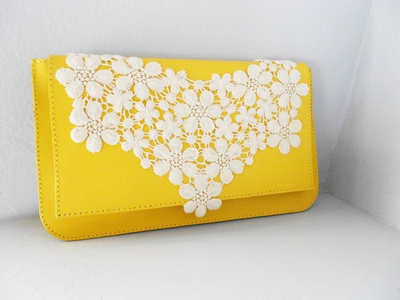 Convenient Leather Yellow Clutch Bag with White Floral Lace