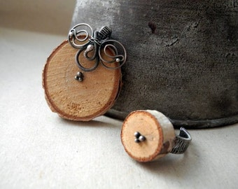 Silver wooden jewelry set, wire wrapping, silver ring and silver pendant; birch tree slice, organic wooden necklace, natural jewelry