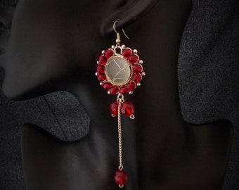 Gothic Victorian Earrings -red round playful elegant  vampire romantic flower  wedding earrings