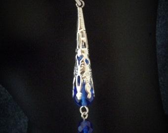 Gothic Victorian Earrings -cobalt blue elegant  vampire romantic flower  wedding earrings