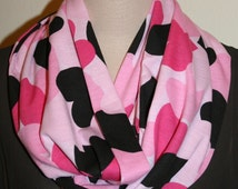 "Pink Falling Hearts Infinity Scarf Jersey knit Loop Scarf  9"" x 64"" L -Valentines Day"