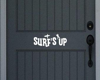Surfs Up Vinyl Door Decal 22442
