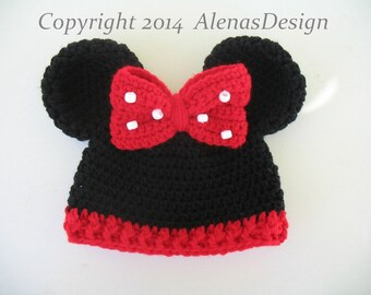 Crochet Pattern 098 - Baby Minnie Mouse Hat -  Mickey Mouse Hat Baby Boy Baby Girl Hat with Mouse Ears Crocheted Bow Red Bow Baby Gift