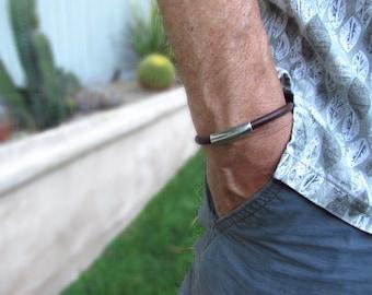 Unisex Bracelet. Genuine Brown Leather with Silver Slider