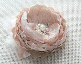 Champagne Blush Hair Flower/ Brooch/ Handmade Wedding Accessory