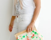 vegan purse,fashion accessories, hand painted clutch, green clutch