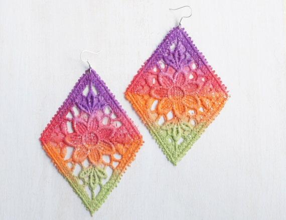 Lace Earrings Neon Flower in Purple Red Orange Green Ombre