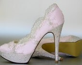 Satin Pearl Bow Tie Peep Toe Wedding Shoes Reviews