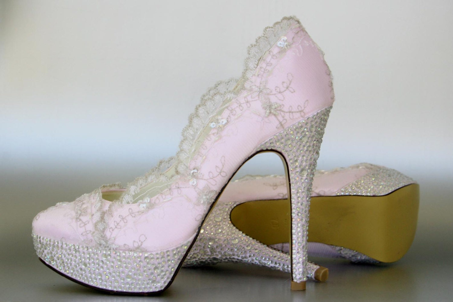 lace wedding shoes paradise pink platform by