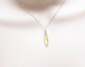 Minimalist Necklace / Delicate Necklace / Lemon Quartz Necklace / Dainty Necklace / Gemstone Necklace