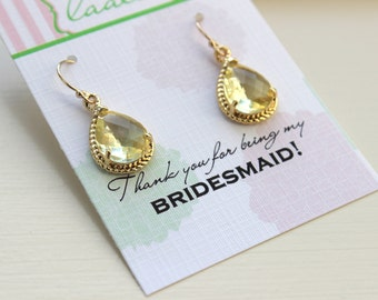 Citrine Earrings Yellow Gold Earrings - Bridesmaid Thank you Note Card - Citrine Bridesmaid Jewelry Citrine Wedding Jewelry Bridesmaid Gift
