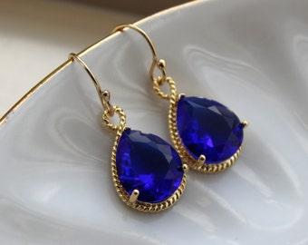 Gold Cobalt Blue Earrings Electric Blue Jewelry Earrings - Bridesmaid Earrings Electric Blue Wedding Jewelry Bridal Earrings Cobalt Wedding