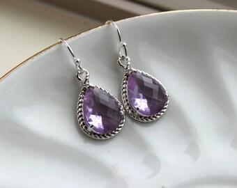 Silver Lavender Earrings Purple Lilac Teardrop Pendant - Purple Bridesmaid Earrings Wedding Earrings Bridal Earrings Lavender Silver Jewelry