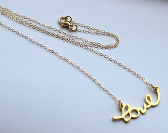 Gold Love Necklace - Script Love Statement Necklace - Wedding Jewelry - Love Charm Bridesmaid Necklace - Bridesmaid Jewelry - Gift under 20