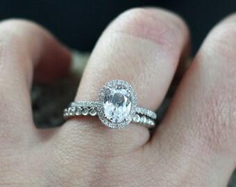 White Sapphire Diamond Eternity Bubble Bezel Band Engagement Ring Set Ovale Medi Ferarelle 2ct 8x6mm White-Yellow-Rose Gold-10k-14k-18k-Plat