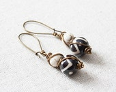 Tribal Black and White Bone and Howlite Wire Wrapped Brass Earrings Kidney Ear Wire