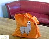 Llama Orange Tote Bag, Cotton Shopper, Unbleached, Illustrated
