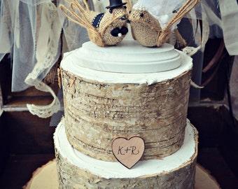 Burlap BirdsLove Birds Wedding Cake Topper-Burlap Birds Wedding Cake Topper
