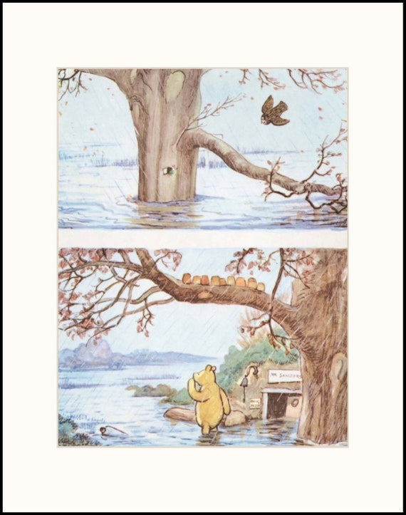 Winnie the pooh art w mat baby nursery decor by for Classic pooh nursery mural