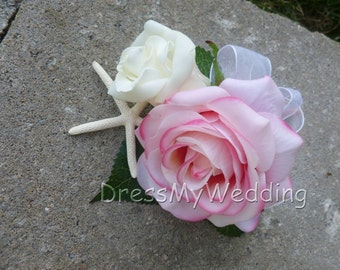 Real touch rose corsage, pink white rose corsage with starfish