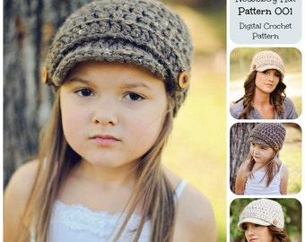 Crochet Pattern, Hat Pattern, Basic Newsboy Hat Pattern 001, Brimmed Hat Pattern, Beanie Hat Pattern