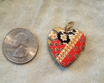 Vintage Austrian Enamel Red floral Heart  Locket