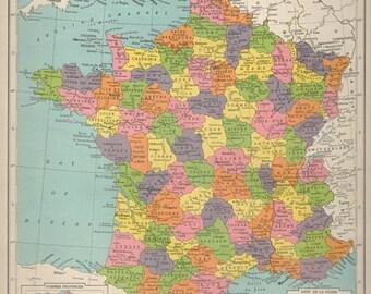Large Antique France Map 1940s Paris