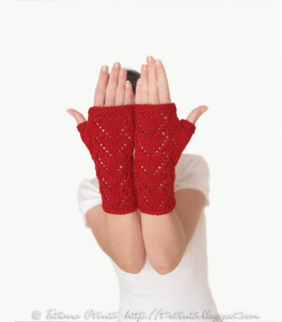 Red Heart Knitting Pattern Mittens : Heart red lace gloves hand knit fingerless mitts poppy by ...