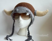 Braided Viking Hat (all sizes available-Made to order) Brown and grey viking hat