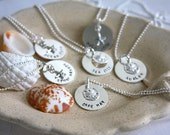 Beach tag necklace, shore points, hand stamped, personalized, sterling silver, starfish, sand dollar, gift