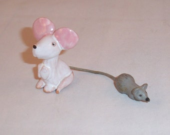 ADDITIONAL 10% OFF...SALE  2 Vintage Small Mice Pottery and Rubber Gray Mouse