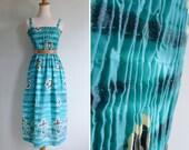 50% Off - Vintage 80's Hawaiian Paradise Turquoise Smocked Sun Dress S or M