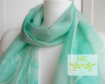 Emerald Silk Scarf.Hand Painted Emerald Silk Scarf.Emerald Green Silk Scarf.Green Silk Scarf.Emerald Scarf.Emerald Green and White Scarf.