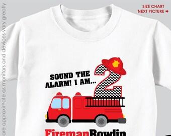 Firetruck Birthday Shirt or Bodysuit - Personalized Firetruck Birthday Shirt with Child's Name & Age