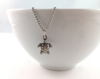 Turtle Necklace, Silver Nautical, Nautical Necklace, Nautical Jewelry, Beach Wedding, Bridal, Silver Necklace, Turtle Charms, Turtle Pendant
