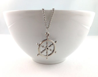 Ship Wheel Necklace, Nautical Necklace, Nautical Jewelry, Beach Wedding, Bridal, Silver Necklace, Anchor Pendant, Anchor charms