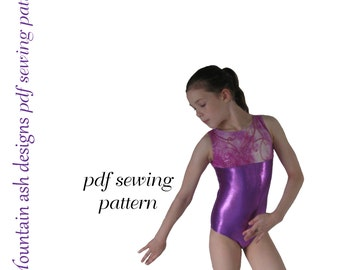 Leotards 1 pdf sewing pattern gymnastics gym ballet dance girls sizes 2-14