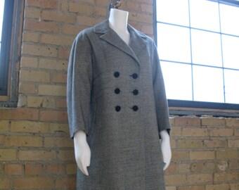 Vintage 1950's Coat Wool Black and White M/L