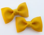 mustard pigtail hair bows--2.5 inch tuxedo style hair accesories--perfect for baby toddler big girls and adults, too