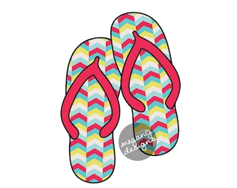 Flip Flops Car Decal - Colorful Tribal Chevron Flipflop Sandal Bumper Sticker Laptop Beach Decal Red Yellow Teal Turquoise