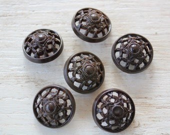 Six Vintage Filigree Plastic Buttons Floral Brown Domed Buttons #132