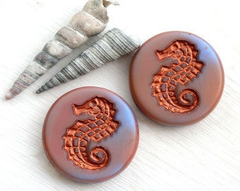 Czech Seahorse beads - Mixed Blue Pink, Copper, Matte - glass beads, large, round, tablet shape - 23mm - 2Pc - 1560