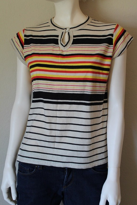 Vintage Striped Shirt Cotton Black Yellow Red By