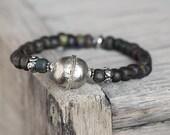 Rustic Woodland Bracelet in Dark Earthy Green - Simple Zen Jewelry