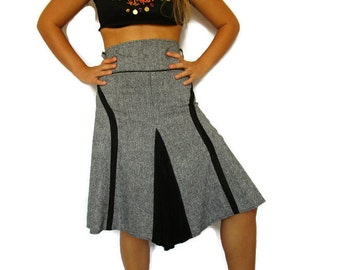 Grey a line high waist midi knee length 1995s skirt