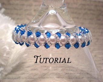 Tutorial PDF Right Angle Weave Swarovski Crystal and Pearl Bracelet with Twisting Seed Bead Overlay, Instant Download