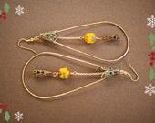 Orange and Gold Teardrop Hoop Dangle Earrings