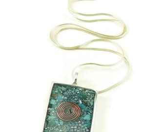 Orgone Energy Pendant - Antique Silver Rectangle w/Turquoise Gemstone - Unisex Necklace - Men's Necklace - Energy Jewelry - Artisan Jewelry